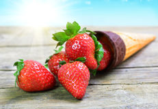 Cone with strawberry Royalty Free Stock Image