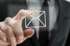 Ícone tocante do email do homem de negócios Fotos de Stock Royalty Free