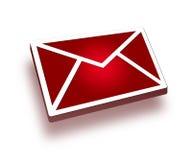 ícone vermelho do correio 3d Imagens de Stock