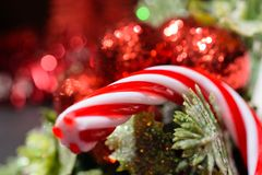 Cone vermelho dos doces do Natal com fundo sazonal da decoração, u próximo Fotos de Stock Royalty Free