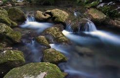 Conecta en cascada abajo la cama de río rocosa del río de Siagnole del La Imagen de archivo