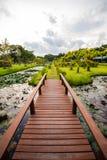 Conectado por uma ponte de madeira 2 Fotografia de Stock Royalty Free