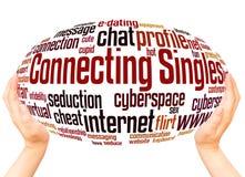 Conectar escolhe o conceito da esfera da mão da nuvem da palavra imagens de stock royalty free