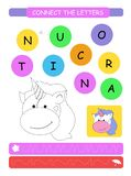 Conecte as letras Folha imprimível para crianças do pré-escolar e do jardim de infância Alfabeto que aprende letras e coloração I ilustração stock