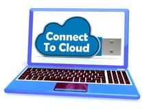 Conecte con el almacenamiento del fichero en línea de los medios de la memoria de la nube Fotografía de archivo