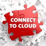 Conecte con la nube en rompecabezas rojo Fotos de archivo libres de regalías