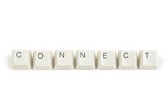 Conecte das chaves de teclado dispersadas no branco Foto de Stock Royalty Free