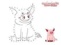 Conecte a Dots Draw Cute Cartoon Pig y coloréelo GA educativo Fotos de archivo
