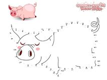 Conecte a Dots Draw Cute Cartoon Pig y coloréelo GA educativo Imagenes de archivo