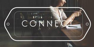 Conecte el concepto conectado conexión de la comunicación del establecimiento de una red foto de archivo libre de regalías