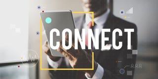 Conecte el concepto de la forma de vida de Internet de la tecnología de comunicación imágenes de archivo libres de regalías