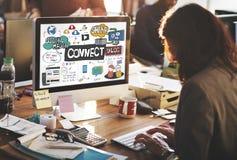 Conecte el concepto en línea del medios establecimiento de una red social social fotografía de archivo