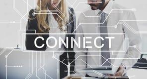 Conecte el concepto social asociado de la unidad del establecimiento de una red foto de archivo