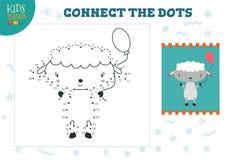 Conecte el ejemplo del vector del juego de los ni?os de los puntos Ni?os preescolares que dibujan actividad ilustración del vector