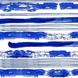 Conecte en dikke blauwe strepen van waterverfverf op witte achtergrond stock afbeelding