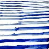 Conecte en dikke blauwe strepen van waterverfverf op witte achtergrond vector illustratie