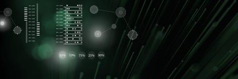 Conecte a folha de prova de gráficos das estatísticas da conexão com a obscuridade - transição verde ilustração royalty free