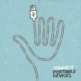Conecte a ilustração do conceito dos dispositivos portáteis. Fotografia de Stock Royalty Free
