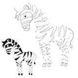 Conecte a ilustração do vetor da zebra do jogo dos pontos Fotos de Stock Royalty Free