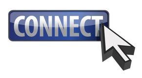 Conecte la ilustración del botón con diseño del cursor Foto de archivo