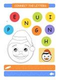 Conecte las letras Hoja de trabajo imprimible para los niños del preescolar y de la guardería Alfabeto que aprende letras y el co libre illustration
