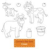 Conecte los puntos (animales del campo fijados, la familia de la vaca) Imagenes de archivo
