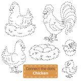Conecte los puntos (pájaros de la granja fijados, la familia del pollo) Imagenes de archivo