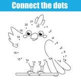 Conecte los puntos por el juego educativo de los niños de los números E stock de ilustración