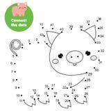 Conecte los puntos por números Juego educativo para los niños y los niños Tema de los animales, cerdo de la historieta libre illustration