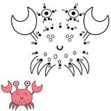 Conecte los puntos y dibuje un cangrejo lindo Juego de n?meros para los ni?os ilustración del vector