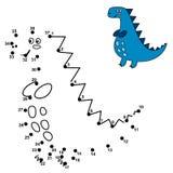 Conecte los puntos y dibuje un dinosaurio lindo ilustración del vector