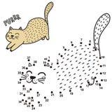 Conecte los puntos y dibuje un gato de ronroneo lindo Juego de n?meros para los ni?os ilustración del vector
