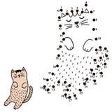 Conecte los puntos y dibuje un gato el dormir libre illustration