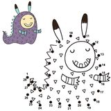 Conecte los puntos y dibuje a un monstruo lindo Juego de números para los niños libre illustration