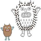Conecte los puntos y dibuje a un monstruo lindo Juego de números para los niños ilustración del vector