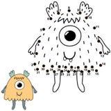 Conecte los puntos y dibuje a un monstruo lindo Juego de números para los niños stock de ilustración