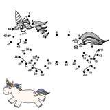 Conecte los puntos y dibuje un unicornio lindo Juego de n?meros para los ni?os stock de ilustración