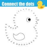Conecte os pontos pelo jogo educacional das crianças dos números Atividade imprimível da folha E ilustração stock