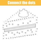 Conecte os pontos pelo jogo educacional das crianças dos números Atividade imprimível da folha Tema do alimento Bolo de tiragem Fotografia de Stock