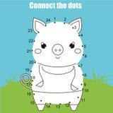 Conecte os pontos pelo jogo educacional das crianças dos números Atividade imprimível da folha Tema dos animais, porco ilustração royalty free