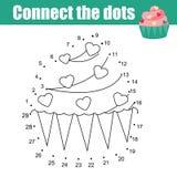 Conecte os pontos pelo jogo educacional das crianças dos números Tema do alimento, queque ilustração do vetor