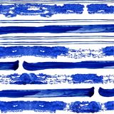 Conecte and thick blue stripes of watercolor paint on white background royalty free illustration