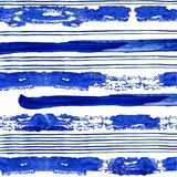 Conecte and thick blue stripes of watercolor paint on white background stock image