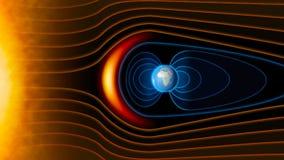 Conecte a tierra el campo magnético del ` s, la tierra, el viento solar libre illustration