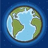 Conecte a tierra el dibujo con los satélites del espacio en espacio azul fotos de archivo