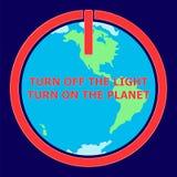 Conecte a tierra el ejemplo de la hora con en el icono y el globo Foto de archivo