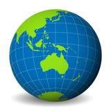 Conecte a tierra el globo con el mapa del mundo verde y los mares y los océanos azules centrados en Australia Con meridianos y pa stock de ilustración