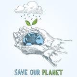 Conecte a tierra el globo en cuidado de la protección del planeta de las manos del ser humano Imagen de archivo libre de regalías