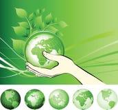 Conecte a tierra el globo en las manos protegidas. ilustración del vector