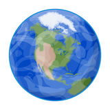 Conecte a tierra el icono en estilo de la historieta en el fondo blanco Ejemplo del vector de la acción del símbolo de los planet Imagenes de archivo
